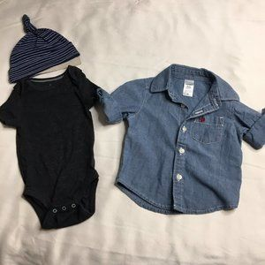 Carters 3 Month Bundle- Chambray Button Front, Hat